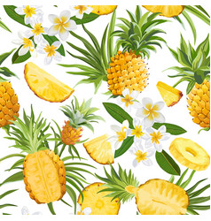 tropical flowers and pineapple seamless pattern vector image