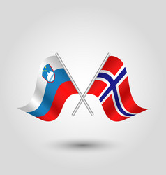 Two crossed slovenian and norwegian flags vector