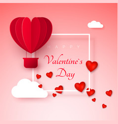 valentines day greeting card with paper cut red vector image