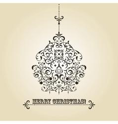 Vintage Christmas greeting card vector