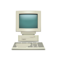 vintage computer isolated on white vector image