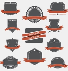 vintage labels and ribbons retro style set design vector image