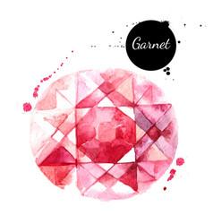 Watercolor hand drawn garnet gemstone crystal vector