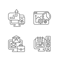 Work trackers linear icons set vector