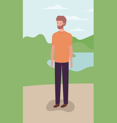 Young and casual man with beard in field vector