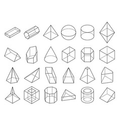 abstract isometric 3d geometric outline shapes vector image vector image