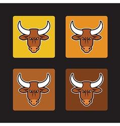 brown bull set vector image