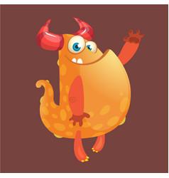 cute orange fat cartoon monster blob vector image