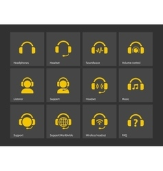 Headphones and support icons vector image vector image