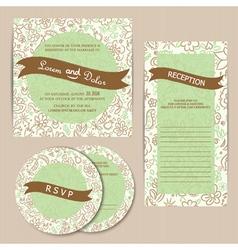 Invitation set green vector