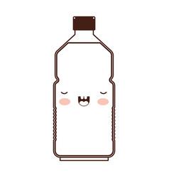 kawaii water bottle in brown silhouette vector image