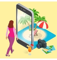 Modern concept of traveling booking online vector image vector image