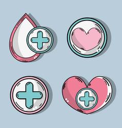 Set drop blood donation symbol vector