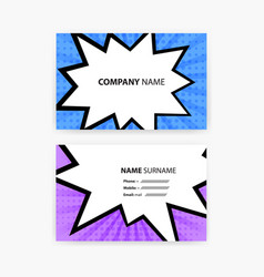 business card set with comic style design template vector image