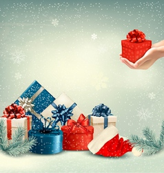 Christmas winter background with presents vector image vector image