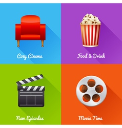 Cinematography set of square movie banners vector image