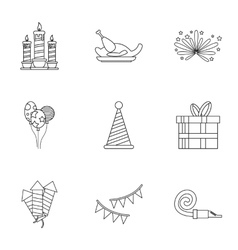 Holiday icons set outline style vector image vector image