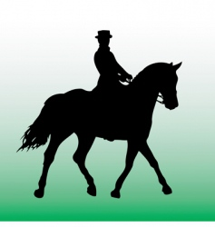 silhouette of horsewoman vector image vector image