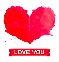 Watercolor Red Heart Isolated on White Background vector image