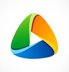 3D triangle social media abstract logo vector image