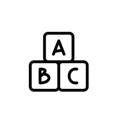alphabet cubes thin line icon outline symbol baby vector image