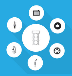 flat component set of packing wheel heater and vector image vector image