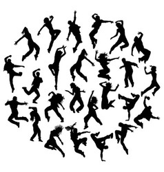 Silhouette Modern Dance Hip Hop and Street Dancer vector image