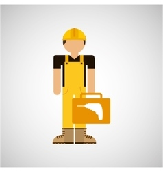 character construction man with tool box drill vector image vector image