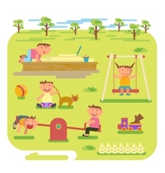 children play outdoors vector image vector image