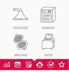 Dishwasher waffle-iron and toaster icons vector