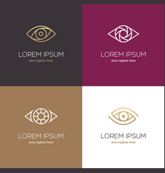 Four linear eye logo vector