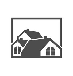 group house grey logo vector image vector image