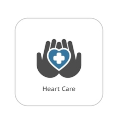 Heart Care Icon Flat Design vector image vector image