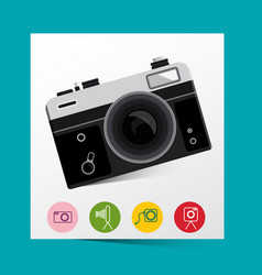 retro analog photo camera with photography icons vector image vector image