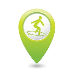 surfing icon green map pointer vector image