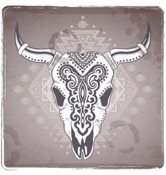 Tribal animal skull with ethnic vector image vector image