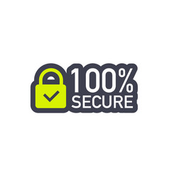 100 secure grunge icon badge or button vector image