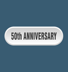 50th anniversary button rounded sign on white vector