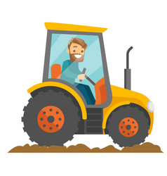 a white happy farmer in tractor on a rural farm vector image