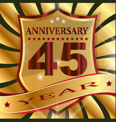 anniversary 45 th label with ribbon vector image
