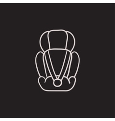 Baby car seat sketch icon vector image