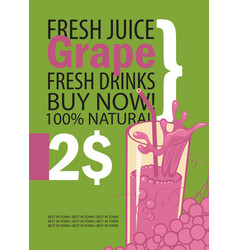 banner with grape and a glass juice vector image