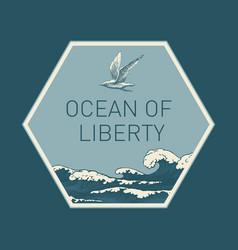 banner with hand-drawn sea waves in retro style vector image