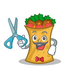 barber kebab wrap character cartoon vector image