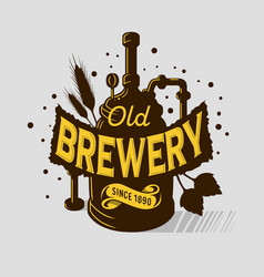 Beer logo emblem print design brewery equipmen vector