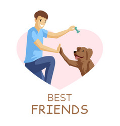 best friends flat guy and vector image