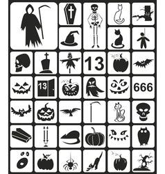 Black Halloween Icons vector