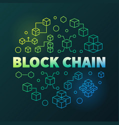 block chain round creative thin line vector image