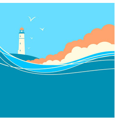 Blue sea waves with lighthouse nature poster vector