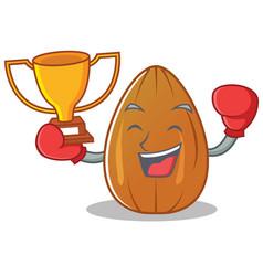 Boxing winner almond nut character cartoon vector